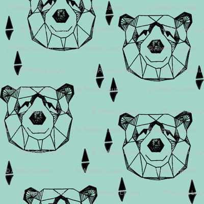 Geometric Bear Head - Pale Turquoise