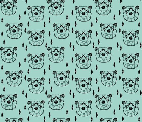 Geometric Bear Head - Pale Turquoise fabric by andrea_lauren on Spoonflower - custom fabric