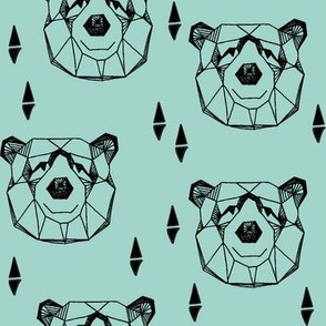 geo bear head // geometric bear mint kids blue boy nursery geometric