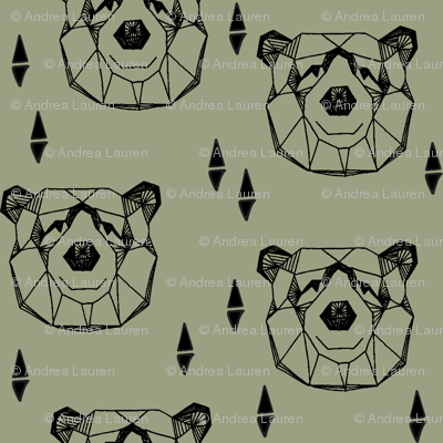 Geometric Bear Head - Artichoke
