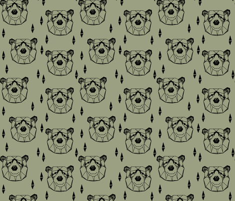 Geometric Bear Head - Artichoke fabric by andrea_lauren on Spoonflower - custom fabric