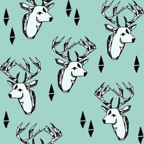Geometric Deer Head - Pale Turquoise