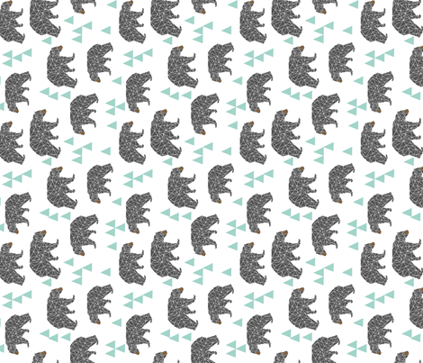 bear // mint and grey charcoal triangles kids cute baby nursery bear fabric by andrea_lauren on Spoonflower - custom fabric