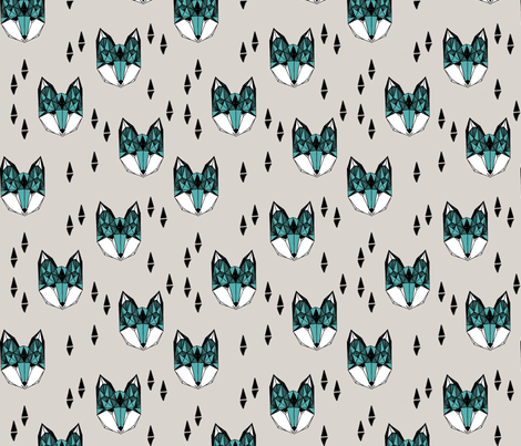 Geometric Fox Head - Light Grey/Tiffany Blue fabric by andrea_lauren on Spoonflower - custom fabric