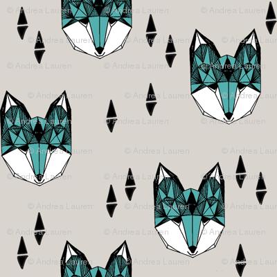 fox // geometric fox head design grey and blue kids baby boy nursery foxy fox head fox quilt sewing fabric fox fabric