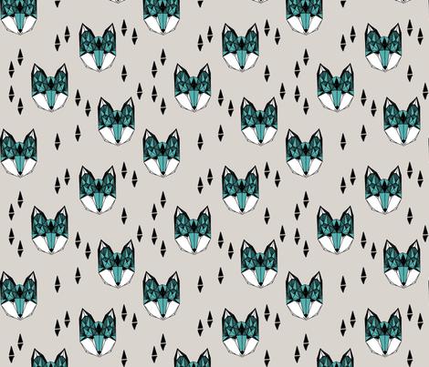 fox // geometric fox head design grey and blue kids baby boy nursery foxy fox head fox quilt sewing fabric fox fabric  fabric by andrea_lauren on Spoonflower - custom fabric