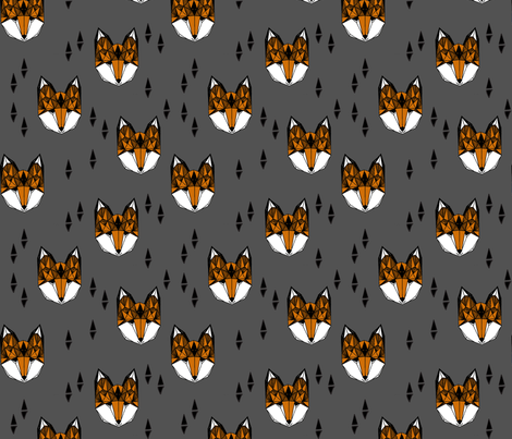 Geometric Fox Head - Charcoal/Rust fabric by andrea_lauren on Spoonflower - custom fabric