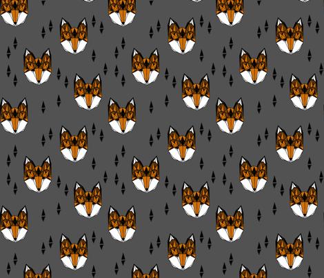 fox head // geometric fox head hand-drawn geo illustration original andrea lauren design charcoal  fabric by andrea_lauren on Spoonflower - custom fabric