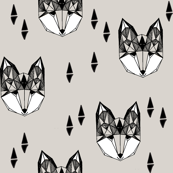 Geometric Fox Head - Light Grey