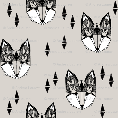 Geometric Fox Head - Light Grey by Andrea Lauren