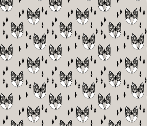 Geometric Fox Head - Light Grey by Andrea Lauren fabric by andrea_lauren on Spoonflower - custom fabric