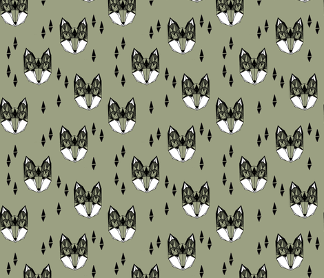 Geometric Fox - Artichoke by Andrea Lauren fabric by andrea_lauren on Spoonflower - custom fabric