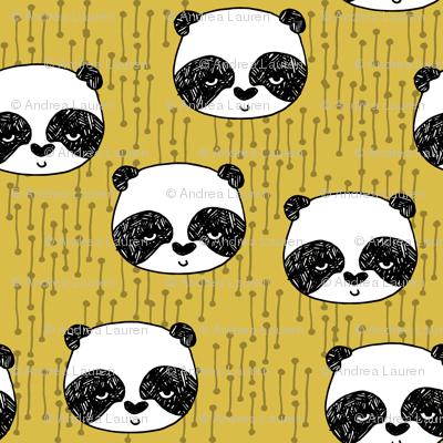 panda // mustard yellow panda head cute illustration andrea lauren fabric scandi nursery baby panda head
