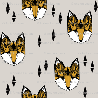 Geometric Fox Head - Light Grey/Saffron