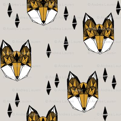 Geometric Fox Head - Light Grey/Saffron by Andrea Lauren