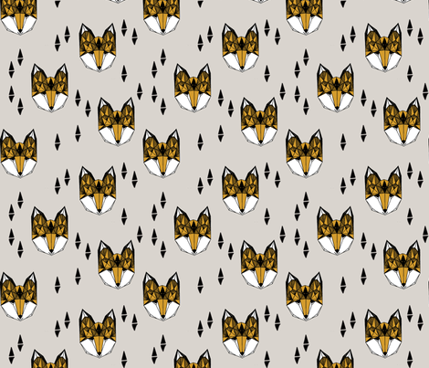 Geometric Fox Head - Light Grey/Saffron fabric by andrea_lauren on Spoonflower - custom fabric