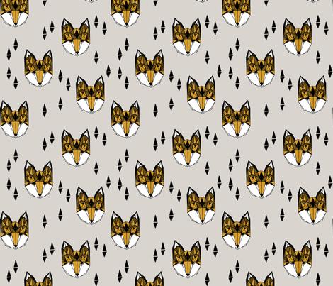 Geometric Fox Head - Light Grey/Saffron fabric by andrea_lauren on Spoonflower - custom fabric
