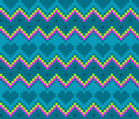 8-Bit Eighties - Chevrons and Hearts fabric by dianef on Spoonflower - custom fabric