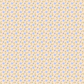 Formal floral cream with blue