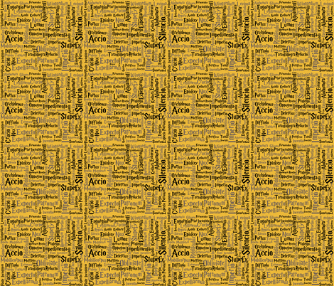Under Your Spell (Hufflepuff color & size variation) fabric by implexity on Spoonflower - custom fabric