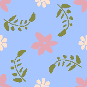 Formal floral blue ground