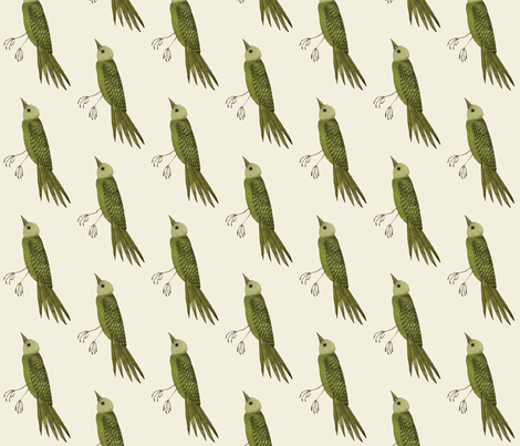 songbird west natural fabric by gollybard on Spoonflower - custom fabric