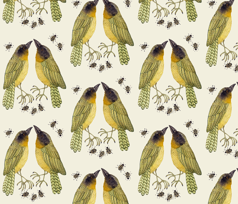 yellowthroats natural fabric by gollybard on Spoonflower - custom fabric