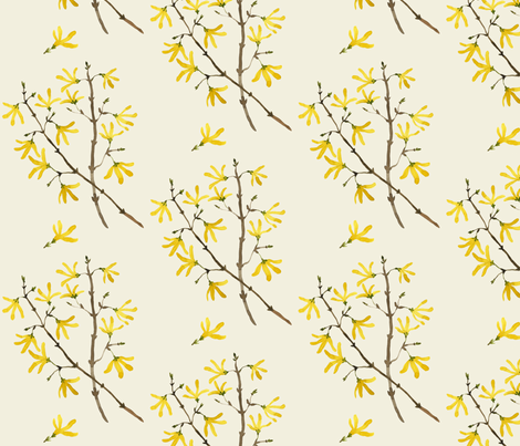 forsythia natural fabric by gollybard on Spoonflower - custom fabric