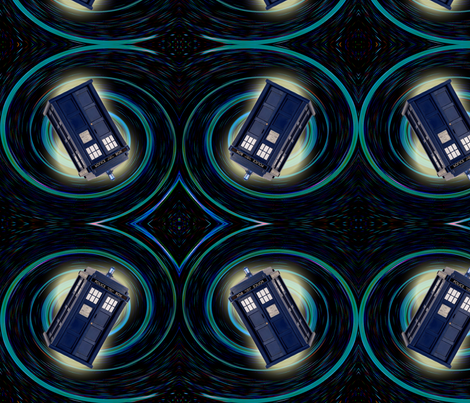 Police Box Spiral fabric by projectbunnyart on Spoonflower - custom fabric