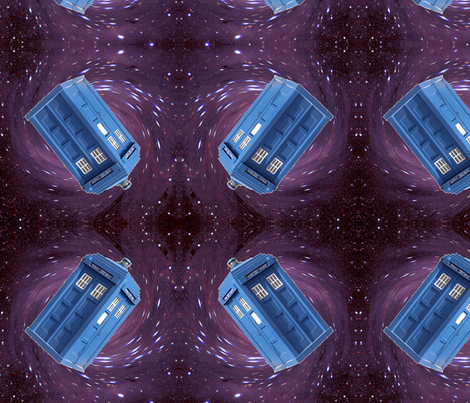Police Box in Space fabric by projectbunnyart on Spoonflower - custom fabric