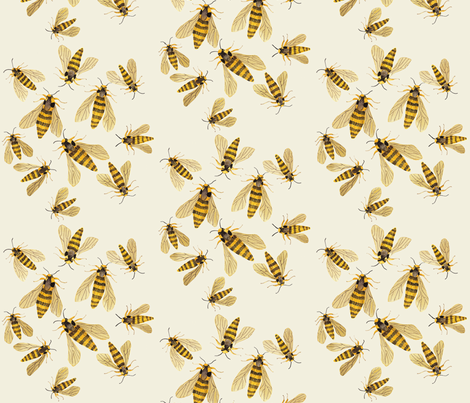 hornet moths natural fabric by gollybard on Spoonflower - custom fabric