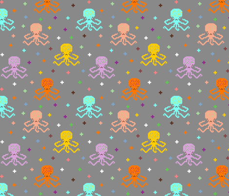 pixel_octopuses fabric by uramarinka on Spoonflower - custom fabric