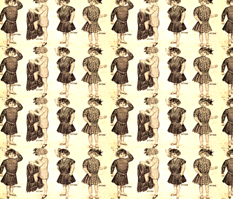 Girls and their bloomers fabric by winterblossom on Spoonflower - custom fabric
