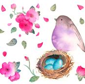 Bird with Nest - Purple
