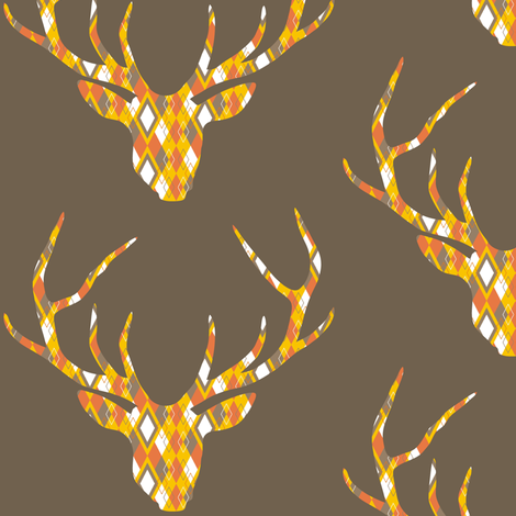 Deerhead Orange Argyle fabric by smuk on Spoonflower - custom fabric