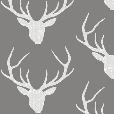 Deerhead Geeky Grey fabric by smuk on Spoonflower - custom fabric