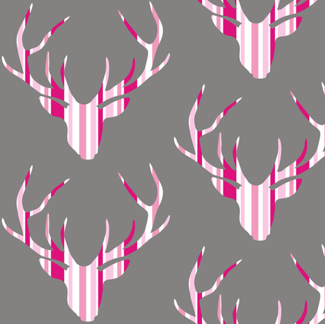 Deerhead Pink Stripes fabric by smuk on Spoonflower - custom fabric