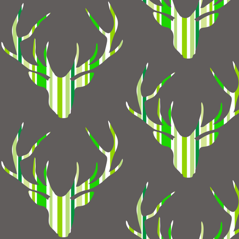 Deerhead Green Stripes fabric by smuk on Spoonflower - custom fabric
