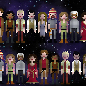 Firefly cast (tiered) on galaxy background