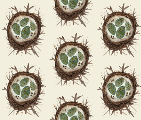 bird nest natural fabric by gollybard on Spoonflower - custom fabric