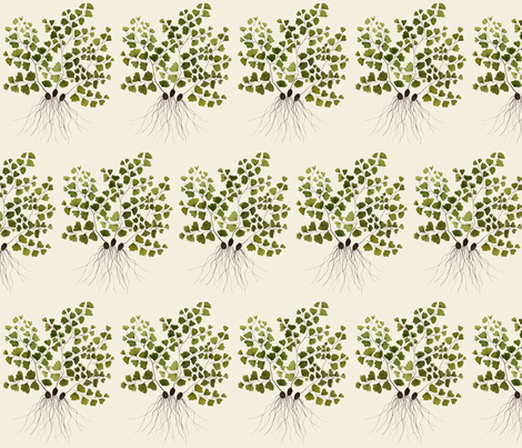 maidenhair fern natural fabric by gollybard on Spoonflower - custom fabric