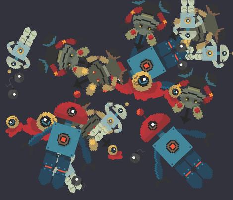 Disorder of robots fabric by haakjesluiten on Spoonflower - custom fabric