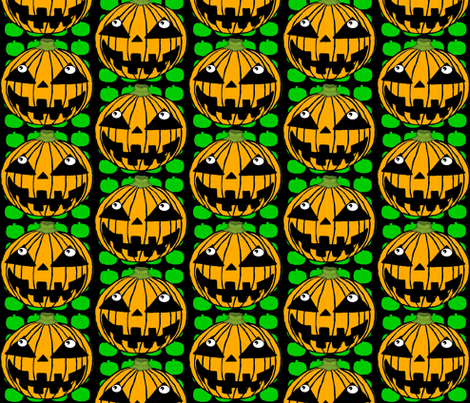 White-Eyed Pumpkin Jack O' Lantern fabric by amy_g on Spoonflower - custom fabric
