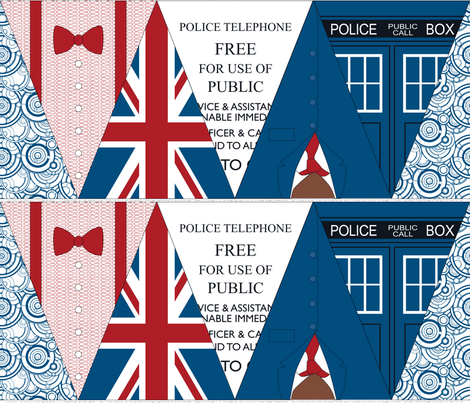 Doctor Who Bunting Flags fabric by risarocksit on Spoonflower - custom fabric