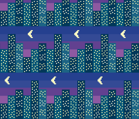 night_falls_on_the_city fabric by reginamartinedesign on Spoonflower - custom fabric