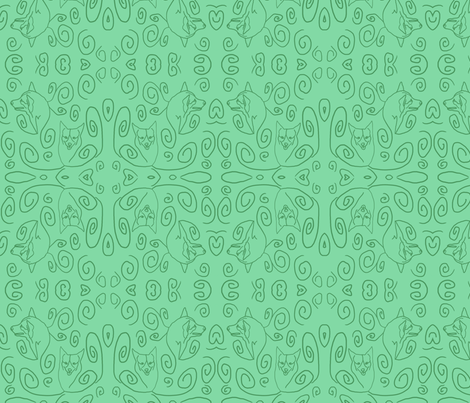 Whimsical Pembroke outlines - green fabric by rusticcorgi on Spoonflower - custom fabric