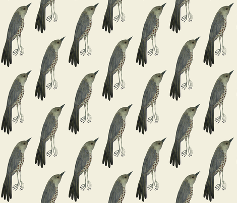 wood thrush east natural fabric by gollybard on Spoonflower - custom fabric