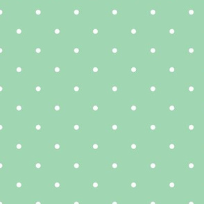 White Polka Dot on Mint