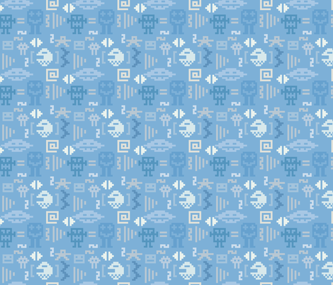 Pixel monster pattern fabric by ksanask on Spoonflower - custom fabric