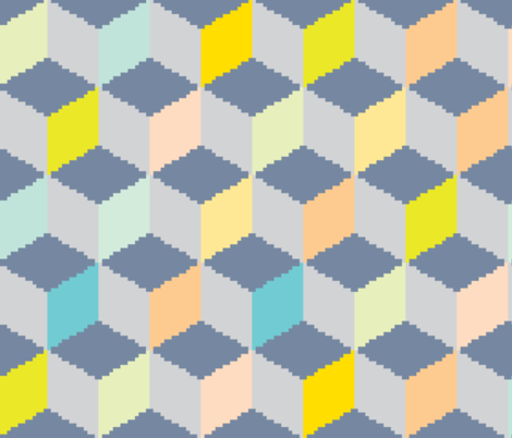 8 bit cuboid fabric by candyjoyce on Spoonflower - custom fabric